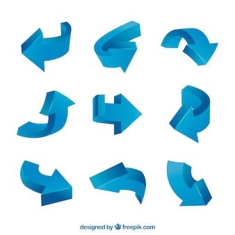 Conjunto moderno de setas azuis
