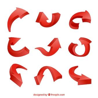 Conjunto moderno de setas vermelhas