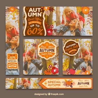 Conjunto original de banners de outono