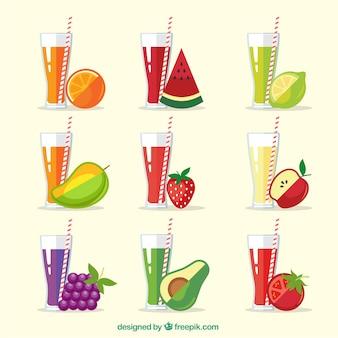 Conjunto, refrescante, fruta, sucos