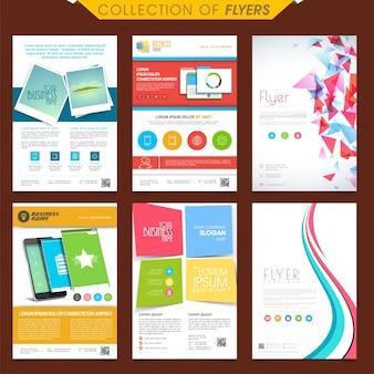Conjunto, seis, diferente, criativo, flyers, desenho, negócio, conceito