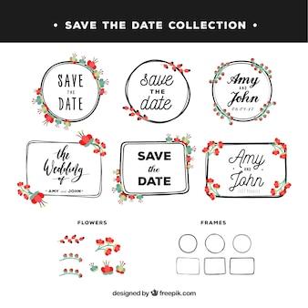 Conjunto vintage de etiquetas de casamento florais