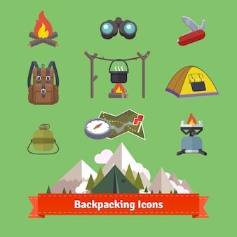 Conjuntos de ícones lisos de mochila e caminhadas