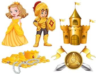 Contos de fadas com ilustração de cavaleiro e princesa