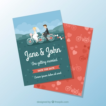 Convite agradável do casamento com o casal na bicicleta