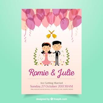 Convite bonito do casamento com balões e newlyweds