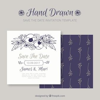 Convite bonito do casamento com flores desenhadas à mão