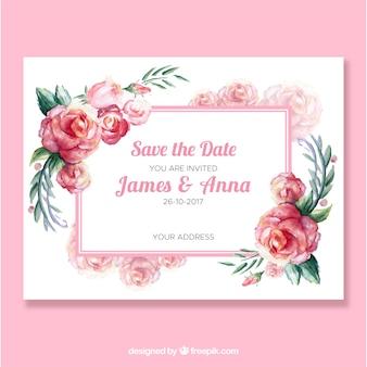 Convite bonito do casamento com rosas da aguarela