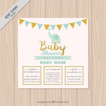 Convite bonito do chuveiro de bebê com elefante