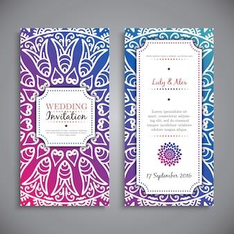 Convite colorido do casamento decorada com ornamentos
