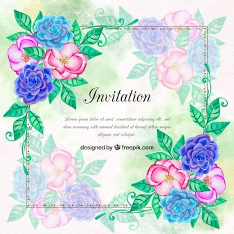 Convite com flores da aguarela