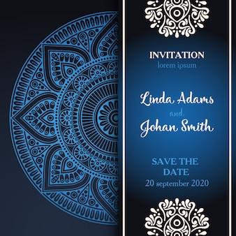 Convite com mandala azul