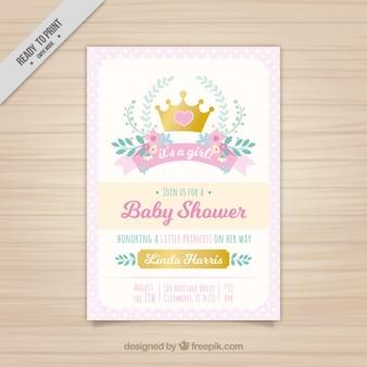 Convite cor de rosa festa do bebé com uma coroa da princesa