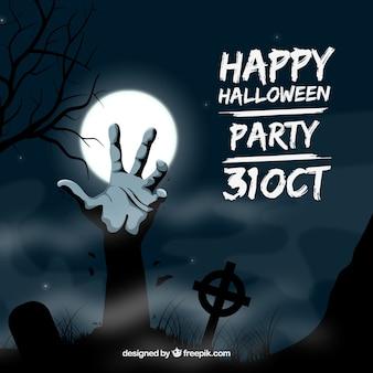 Convite da festa de Halloween com uma mão zombie