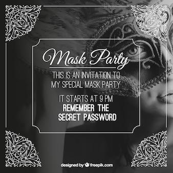 Convite da festa de máscara