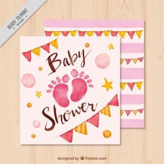 Convite da festa do bebé com pegadas e grinaldas