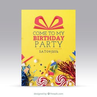Convite de aniversário com doces