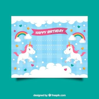 Convite de aniversário com um unicórnio, nuvens e corações