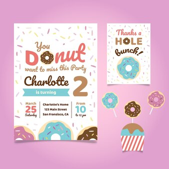 Convite de aniversário Donut Tema