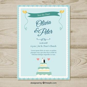 Convite de casamento com adorável bolo