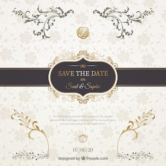 Convite de casamento com fita preta elegante