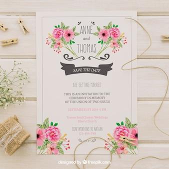 Convite de casamento com flores de aguarela