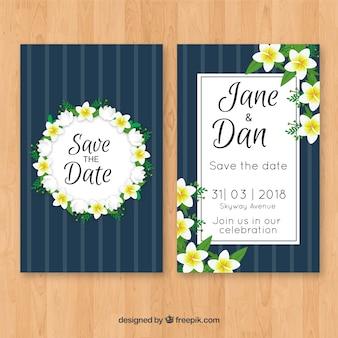 Convite de casamento com flores de jasmim