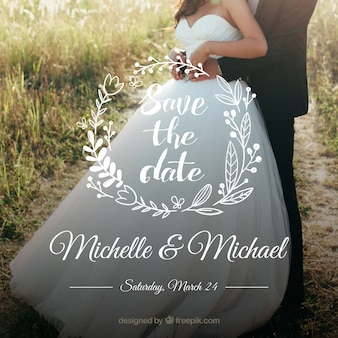 Convite de casamento com letras artesanais