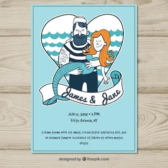 Convite de casamento com marinheiro e sereia