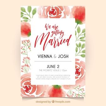 Convite de casamento com rosas de aguarela