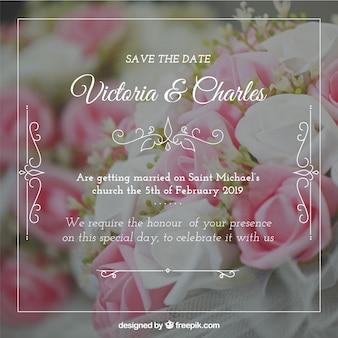 Convite de casamento com um filtro escuro