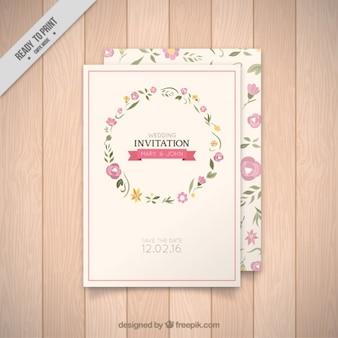 convite de casamento coroa de flores