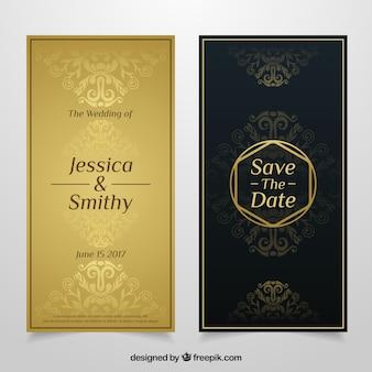 Convite de casamento de luxo com decoração decorativa