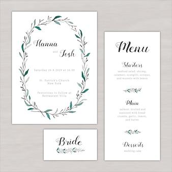 Convite de casamento definido com pintados à mão elementos botânicos