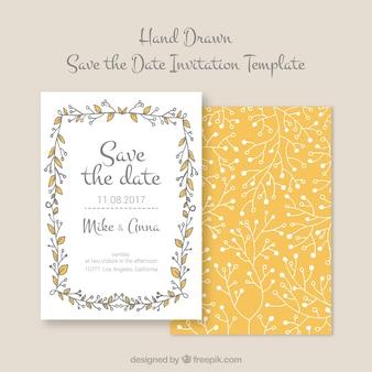 Convite de casamento desenhado à mão com moldura floral
