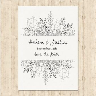 Convite de casamento desenhado mão