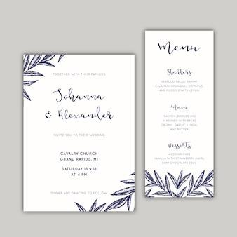 Convite de casamento e conjunto de menus com folhas desenhadas à mão