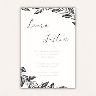 Convite de casamento elegante com folhas e galhos