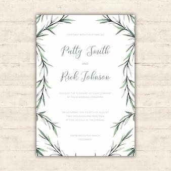 Convite de casamento elegante com ilustrações botânicas de aquarela