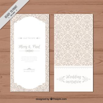 Convite de casamento elegante decorativa
