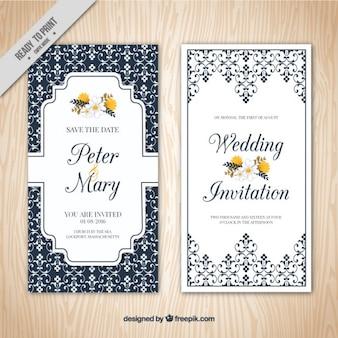Convite de casamento elegante ornamental