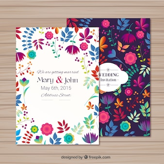 Convite de casamento em estilo floral