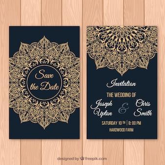 Convite de casamento escuro com mandala fantástica