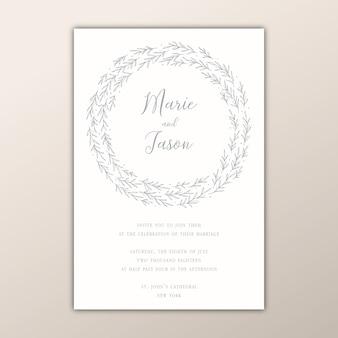 Convite de casamento minimalista com uma grinalda desenhada à mão