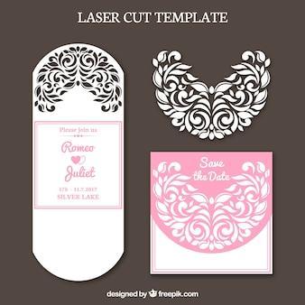 Convite de casamento romântico com corte a laser