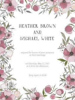 Convite de casamento romântico com flores cor de vinho