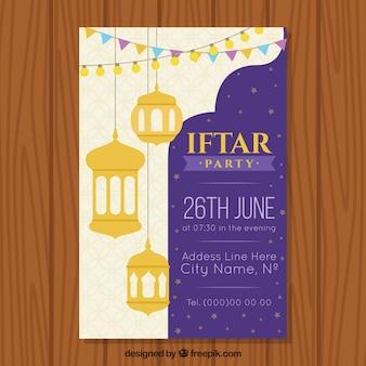 Convite de Iftar com lâmpadas e ornamento árabes