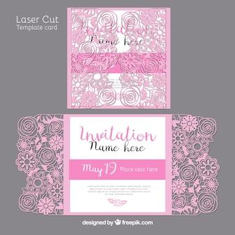 Convite decorativo floral cortado a laser