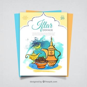 Convite desenhado mão do iftar