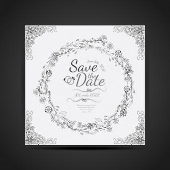 Convite desenhado mão floral bonito do cartão de casamento